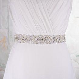 Wholesale Cummerbunds Beads - Handmade Wedding Party Dress Accessories Belt Women Designer Belts Cummerbunds 4cm Ribbon Long Sashes Rhinestones Bead Belts R18 Cheap