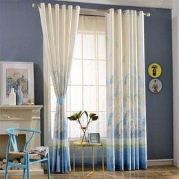 Wholesale Printed Curtain Panels - New Design Fashion Pleated curtain Eyelet Hooks Style Window Sheer 2 Panels Finished Curtain Print style Blackout curtain Top Quality