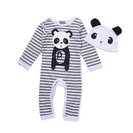 Wholesale Girls Panda Pajamas - Mikrdoo Cute Baby Newborn Clothes Kids Boy Girl Cotton Striped Pajamas Panda Pattern Hat 2pcs Toddler Coverall Infant Jumpsuit Clothing Set