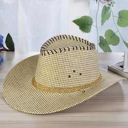 Wholesale Roping Hats - Summer Fashion Men Solid Straw Western Cowboy Hat With Rope Wild Curling Brim Cap Chin Strap Beach Sun Hats UV Protection