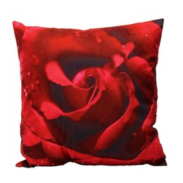 Wholesale Wholesale 3d Flower Bedding - Wholesale- 3D Vintage Decorative Home Plush Pillow Case Cover Living Room Bed Chair Seat Waist Throw Cushion Rose Flowers Pillowcases