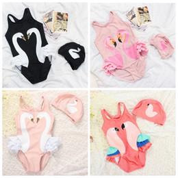 Wholesale Girls Swan Sets - Girls Swimwear Swan Baby Flamingo Swimsuits Kids Parrot Print Bathing Suits Toddler Swimwear Bathing Cap Children Swim Clothing Sets H795