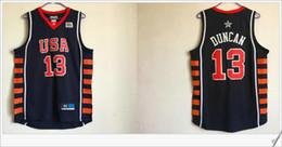 Wholesale Dream Team Usa Shirt - #13 Tim Duncan Mens USA Stitched Embroidery Dream team Six Sewed American basketball Vests shirts Uniforms Vintage Sports Jerseys Sz S-XXXL
