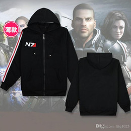 Wholesale Top Coat Cosplay - Fashion RPG Game Mass Effect 3 N7 top Coat mens Clothes cosplay costume black Sweatshirt unisex cotton tracksuits for men