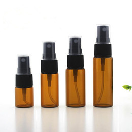 Wholesale Wholesale Amber Glass Spray Bottles - 5ml 10ml 15ml 20ml Amber Glass Spray Bottle with Black Fine Mist Sprayers for Essential oil aromatherapy perfume F20171286