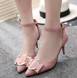 Wholesale rhinestone bow heels - Fashion ladies spring new women's shoes Korean version of shallow mouth pointed bow high heels fine small suede side buckle single shoes