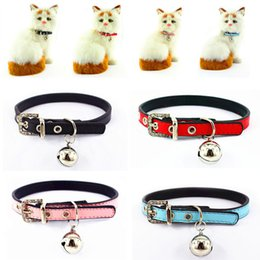Wholesale Wholesale Handmade Dog Collars - Candy Color Pet Kitten Handmade Adjustable Necklace Cute Collars for Small dogs and Cats with bell Studded