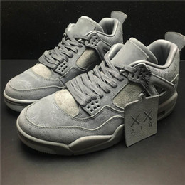 Wholesale Cool Boxes Fishing - 2017 Air 4 Retro XX Kaws Basketball Shoes Cool Grey White Glow In The Dark With Original Box Blue Black Sneakers For Mens