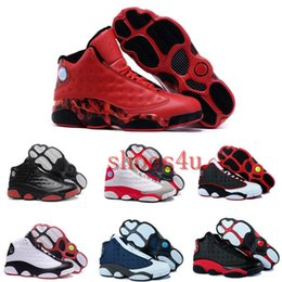 Wholesale Cheapest Brand Name Sneakers - [With Box]Free shipping Cheap New Air Retro 13 Basketball Shoes Mens Sneakers Brand Name Men Retro 13s Black Blue White Sports Shoes US 8-13