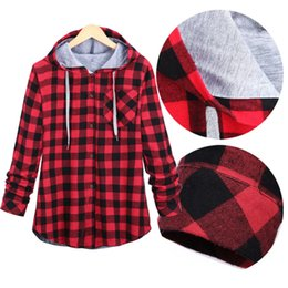 Wholesale Men Hoodies Plaid Shirt - Wholesale-Plaid Side Zipper Scotland Long-sleeved Casual Shirt Hiphop Black And White, Blue And Red Hoodies Sweatshirts For Men And Women