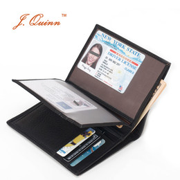 Wholesale Leather Travel Pouch Men - Wholesale- J.Quinn Travel Wallet Men Large ID Wallets Zipper Pouch 7 Credit Card Holder Genuine Leather Soft Short Mens Purse 2 Photo