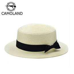 Wholesale Wide Brim Visors For Women - Wholesale- 2016 Fashion Sun Hat For Women Classic Panama Cap Fodora Chic Summer Spring Beach Visor Brief Solid Straw Hat Brim Headwear