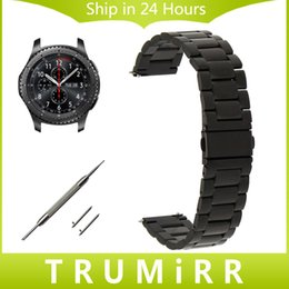 Wholesale Wirst Band Watch - Wholesale- 22mm Stainless Steel Watch Band + Quick Release Pins for Samsung Gear S3 Classic Frontier Wirst Strap Bracelet Black Gold Silver