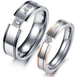 "Wholesale Stainless Rings Engraved - Couples Engagement Rings Engraved ""My Love"" Women Men Stainless Steel Promise Wedding Pairs Ring Romantic Gift Jewelry for Lovers"