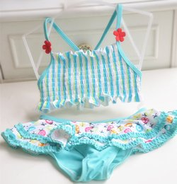 Wholesale Kids Floral Swimsuits - Baby Girls Swimwear Summer Floral Kids bikini swimsuit Children bathing suit Stripe Flower tank top+ printed skirt clothing sets C1444