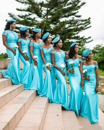 Wholesale Short Formal Dresses Turquoise - 2017 Turquoise South African Mermaid Bridesmaid Dresses Lace Bodice Backless Cap Sleeves Plus Size Wedding Formal Maid of the Honor Dresses