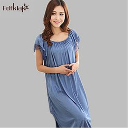 Wholesale Women Sleepwear Dress For Summer - Wholesale- Loose Sexy Nightdress Long Nightgown Female Short Sleeve Summer Night Dress Sleepwear For Women Casual Faux Silk Nightshirts