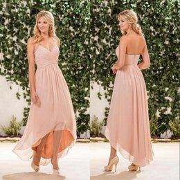 Wholesale Chiffon High Low Dress Peach - Cheap Simple Beach Peach Pink Bridesmaid Dresses 2017 Halter Chiffon High Low Wedding Guest Wear Party Dress Maid of Honor Gowns