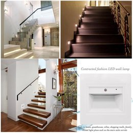 Wholesale Modern Porch Lights - 0.6W Voice & Light Control Sensor Wall Plinth Stairs Lights Hallway Walkway Aisle LED Footlight Intelligent Porch Lighting Night Lamps