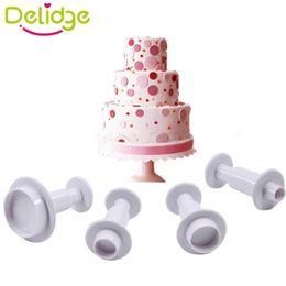 Wholesale Round Plunger - DIY 3D Round Plastic Fondant Plunger Cutters Fondant Cake Decorating Tools Cake Mold Cookie Cutter Cupcake Decoration Set