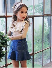 Wholesale 2t Girls Jeans - 2017 Summer New Children Girls Jeans Skirt Kids Casual Blue Denim OverallsMermaid Skirt Ball Gown Dress Princess Clothes For Baby Girls