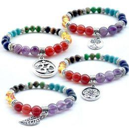 Wholesale Agate Pendant Bead Set - New Charm Bracelets Yoga Colorful Natural Stone Agate Beads Bracelet 7 Chakra Tree Of Life Leaves Pendant Bracelets Free Shipping