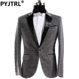 Wholesale Shiny Jackets Men - Wholesale- (Jacket + Pants) Male Dress Singer Host Men Slim Fit Shiny Film Groom Wedding Suit Show Performances Mens Prom Customized Suits