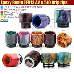 Wholesale Rda Drip Tips - Newest Epoxy Resin drip tips SS Colors Wide Bore 510 dripper Mouthpiece for Smok TFV8 TFV12 Big Baby Tank Kennedy AV24 RBA atomizers RDA tip