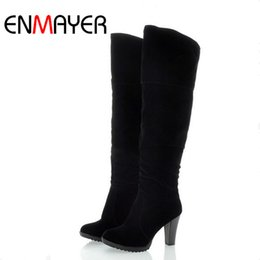 Wholesale High Heels Dropship - Wholesale- ENMAYER Fashion High Heel Boots Women Lady Over Knee Platform Dropship Winter Round Toe Shoes Women Big Size 34-41 Long Boots
