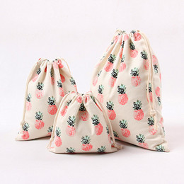 Wholesale hot pink gift bags - Storage Bag Canvas Drawstring Bags Pink Pineapple Print 2017 Hot Fashion Cotton Sacks Top Quality Gifts Pouches Wholesale