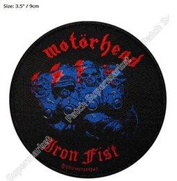 "Wholesale Hard Metal Band - 3.5"" MOTORHEAD England Iron Fist Patch LEMMY KILMISTE Metal Album Cover Hard Rock Band Music Woven Iron On rockabilly LOGO party favor"
