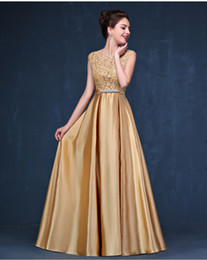 Wholesale Chiffon Tiered Gown Jacket - Evening Dress New Arrival Sequin Long Gold Evening Dresses New Arrival Women Elegant Golden Formal Gowns Dinner Dress