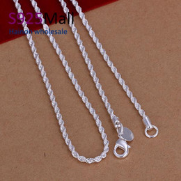 Wholesale Bulk Fine Jewelry - Wholesale- 2017 Collier fine Jewelry Silver Color chain necklace Silver ColorPlated 2mm in bulk jewellery twisted chain necklace