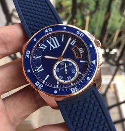 Banda de reloj 18k online-Lujo de alta calidad Calibre Diver Blue Rubber Band Movimiento automático reloj de los hombres WGCA0010 18k Rose Gold Mens Relojes de pulsera