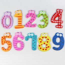 Wholesale Numbers Magnets Set - Wholesale- 1 Set 10 Cartoon Number 0-9 Wooden Magnet Educational toys Kid Baby Toy Educational toys for children kids