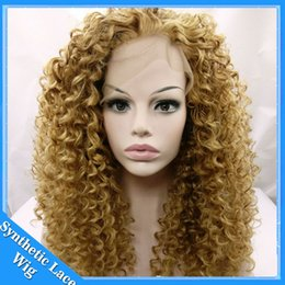 Wholesale Wigs 27 613 - long kinky curly hair lace front wig for black woman 12-26inch blonde 27# 613# kinky curly synthetic wigs Heat Resistant