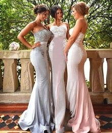 Wholesale Slim Trumpet Dresses - 2017 Sexy Country Slim Sheath Mermaid Bridesmaid Dresses Sweetheart Lace Sequin Sleeveless Backless Sweep Train Bridesmaids Gown BA6940