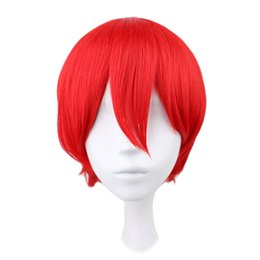 Wholesale High Quality Red Wig - Men Male Short Japanese Costume Cosplay Boys Red 32 Cm Heat Resistant High Quality Synthetic Hair Wigs