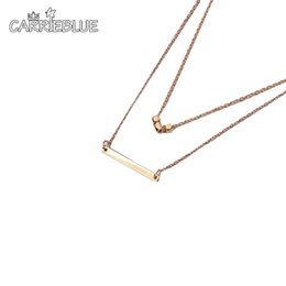 Wholesale Double Rope Necklace - 2017 Fashion Simple Metal Gold silver Layered Tassels Pendant Long Necklace Double Layer Bar Stick Necklace & Pendant YR57