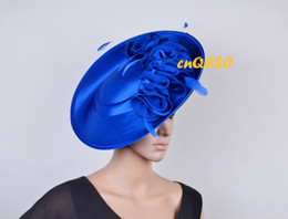Wholesale Kentucky Derby Hats Royal Blue - NEW Royal blue ARRIVAL! Large Matte satin sinamay fascinator Formal dress hat for Wedding Races.FREE SHIPPING