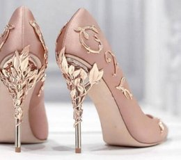 Wholesale Hot Awesome - 2017 New Arrival Awesome Pink Silk Metal Stiletto High Heel Shoes Women Fancy Metal Branch Decoration Thin Heel Pointy Pumps Hot Sell