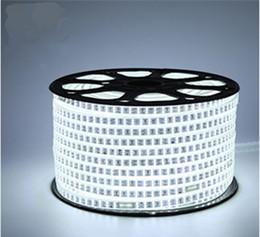 Wholesale Led Flat Rope Lighting - 208Leds m SMD 2835 LED Strip 220V 100M Waterproof Double Row LED Tape Rope Light Warm White Home Decoration lights
