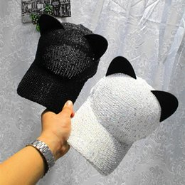 Wholesale Ear Cap Bling - Bling Bling Women Baseball Cap Japanese Style Cute Cat Ears Sun Hat Hollow-Out Breathable Caps for Feminino