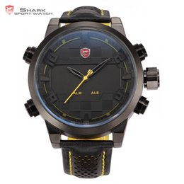 Wholesale Shark Sport Watches - Wholesale- Sawback Angel Shark Sport Watch Mens Black Yellow Digital Dual Movement 3D Logo Steel Case LED Watches Leather Wristwatch  SH204