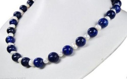 Wholesale Egyptian Lazuli Lapis - New Natural 8mm Egyptian Lapis Lazuli & Pearl Necklace 18''