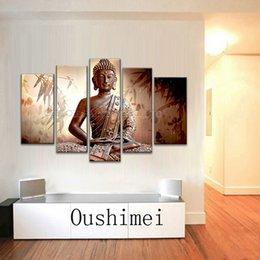Wholesale Handmade Paint Canvas Buddha - Professional Artist Handmade High Quality 5 Panels Impression Buddha Oil Painting on Canvas Abstract Buddha Portrait Painting