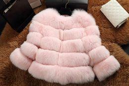 Wholesale Womens Long Fox Coats - Womens Winter Fox Fur Coats Jackets Outwear Long Sleeve Crew Neck Faux Fur Bomber Jacket Warm Down Coat Overcoats S-2XL