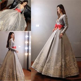 Wholesale Navy Bow Dress - Elegant Gray Satin Deep V Neck Evening Dresses Saudi Arabia Long Sleeves Lace Appliques Prom Dresses With Orange Bow A Line Party Gowns