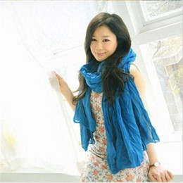 Wholesale Solid Color Long Silk Scarves - Wholesale-Free shippping 2016 Autumn and winter solid color scarves cape ultralarge ultra fluid pleated long silk scarf woman