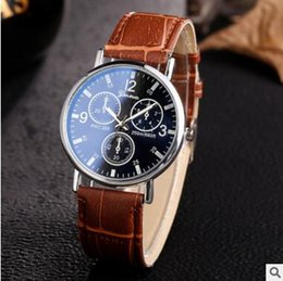 Wholesale Laser Clocks - 2017 Hot Luxury Fashion Sport Watch Geneva Casual laser Watches PU Leather Band Quartz Automatic Luxury Male Clock Wristwatches Business Man